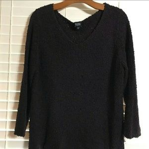 (sold)Eileen Fisher black v-neck sweater sz.L
